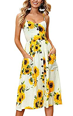 ECHOINE Women's Summer Dresses, Floral Boho Spaghetti Strap Button Down Swing Midi Beach Dress with Pockets
