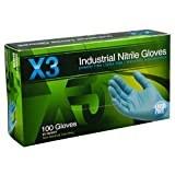 Ammex X342100 Xtreme X3 Powder Free Nitrile Industrial Gloves, 240mm Length, Beaded Cuff, Small, Pack of 100 (Blue)