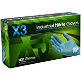 Ammex X3 Xtreme Blue Nitrile Glove, Latex Free, Disposable, Powder Free