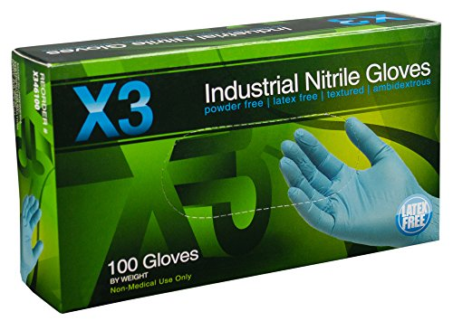 AMMEX - X346100 - Nitrile Gloves - X3 - Disposable, Powder Free, Industrial, 3 mil, Large, Blue (Case of 1000) by Ammex