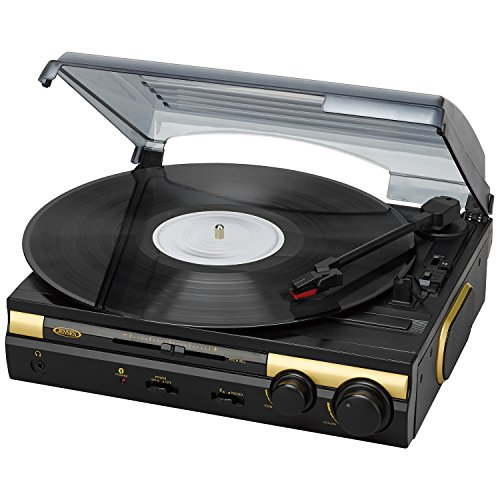 Jensen JTA-230BTG 3 Speed Stereo Bluetooth Turntable with Built in Stereo Speaker System (Gold, Limited Edition Color)