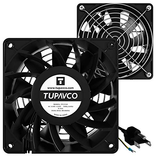 Network Cabinet Fan (Dual 2pc Kit) Server Rack Cooling (Rackmount Muffin Fans Pair 120mm 4in) 110V Cable (Extra Strong) Dual Ball for Side or Top Mount (Computer Equipment Ventilation) Tupavco TP1510 ()