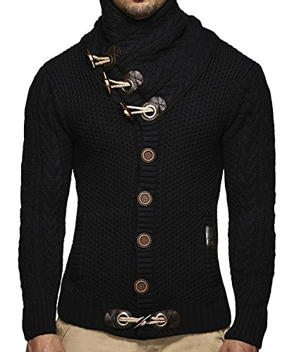 Beotyshow Men's Pullover Cable Knitted Button Down Turtleneck Long Sleeve fit Cardigan Black