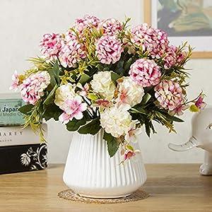 Mini Hydrangea Artificial Flower Small Bouquet Home Wedding Decoration Silk Flower Chrysanthemum Plant Wall Fake Flower,Orange 2