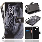 Misteem Case for Huawei P9 Lite Mini Animal, Cartoon Anime Comic Leather Case Wallet with Bookstyle Magnetic Closure Card Slot Holder Flip Cover Shockproof Slim Creative Pattern Shell Protective Cover for Huawei P9 Lite Mini [White Tiger]