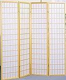 Legacy Decor 4 Panel Natural Room Divider Shoji Screen