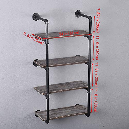GWH Industrial Pipe Shelving Wall Mounted,24in Rustic Metal Floating Shelves,Steampunk Real Wood Book Shelves,Wall Shelf… 3