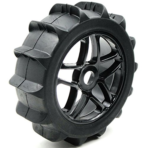 hobbysoul 4pc RC 1//8 Paddles Buggy Tires Hex 17mm Wheels For Snow Sand Master Off Road Car