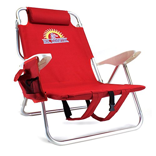 Sol Coastal 4-Position Lay Flat Reclining Beach Chair with Backpack Carry Straps and Storage Pouch