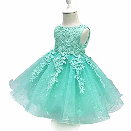LZH Baby Girls Birthday Christening Dress Baptism Wedding Party Flower Dress for Newborn(5801-Green,24M