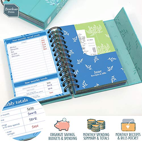 Boxclever Press Budget Book - Bill Organizer with Pockets. Monthly Planner with Expense Tracker to Manage Personal Finance. Undated Budget Planner Organizer for Cash Flow, Bills & More. 7'' x 5.3''