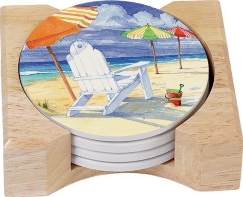(CounterArt Umbrellas on Parade Design Round Absorbent Coasters in Wooden Holder, Set of 4)