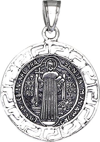 eJewelryPlus Sterling Silver Saint Benedict Medal Reversible Charm Pendant Necklace with Chain (With 18