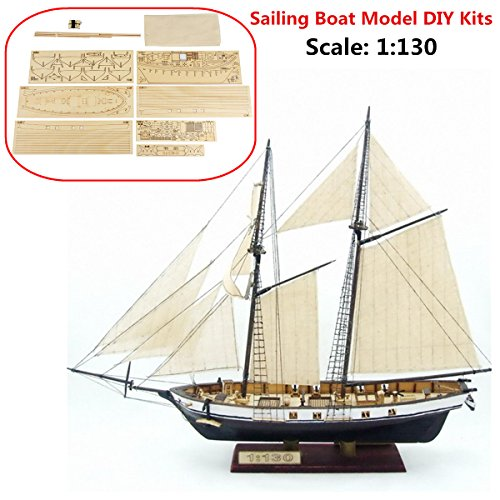 Scale Model Kit Scale - Aissimio 1:130 DIY Ship Assembly Model Kits Classical Wooden Sailing Boat Scale Model Decoration 380x130x270mm