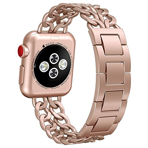 Apple Watch Band, Aokay 38mm 42mm Stainless Steel Metal Cowboy Chain Wrist Band for Apple Watch Series 3 Series 2 Series 1 Sport and Edition (Series 3 Gold, 38mm)