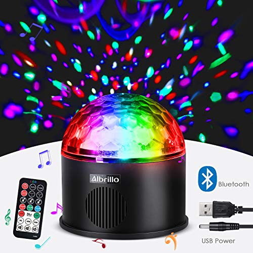 Albrillo LED Party Lights Bluetooth Sound Activated Disco Ball Strobe Light with USB, 9 Colors and 4 Modes, Black DJ Lights for Festival Bar Club -