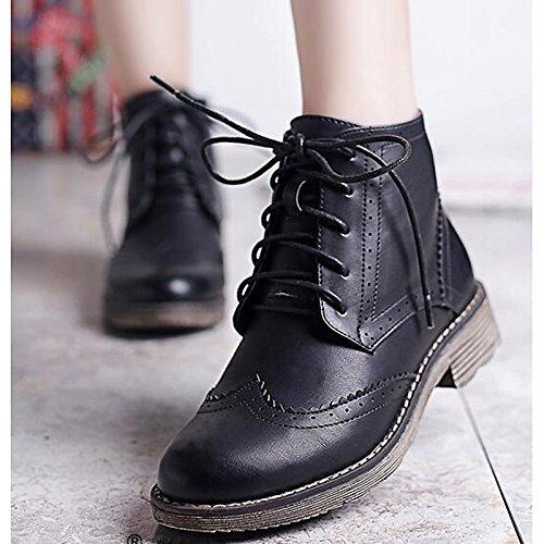 ZHZNVX HSXZ Zapatos de Mujer Otoño Invierno PU Confort Botas de Tacón Chunky Round Toe Botines/Botines for Casual Caqui Marrón Negro,Negro,US6/UE36/UK4/CN36 36.5 EU