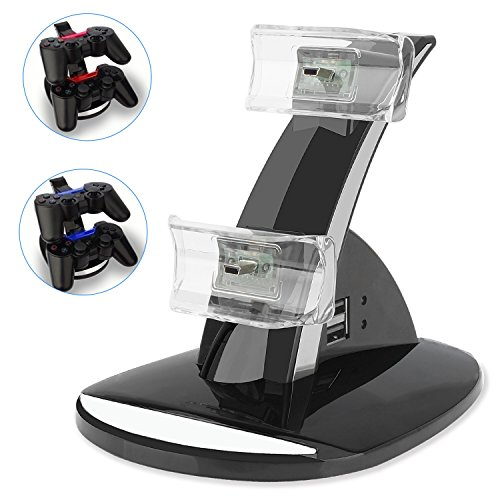 (PS3 Playstation 3 Controller Charger, YCCTEAM® Dual Console Charger Charging Docking Station Stand for Playstation 3 PS3 with LED Indicators, Black)