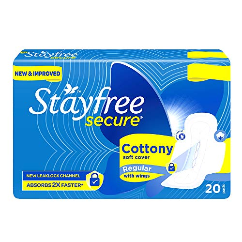 Stayfree Secure Regular Cottony Soft Cover Sanitary Pads For Women With Wings, 20 Pads