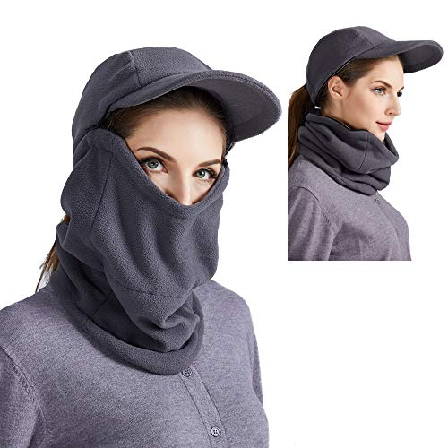 ToVii Balaclava Fleece Hood Sets Winter Windproof Cap with Detachable Neck Gaiter Warmer for Men and Women