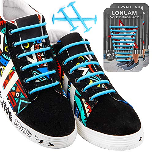 ([Upgrade] Lonlam No Tie Shoelaces Round Stretch Strings Silicone Elastic Bungee Rubber Laceless Lazy Tieless Shoe Laces for Adults Kids Toddlers Sneakers Athletic Running Boot Dress Shoes (Light)