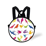 Toddler Preschool Backpack,Flying Birds Decor,Colorful Silhouette of Sitting and Flying Birds Happiness Buddies