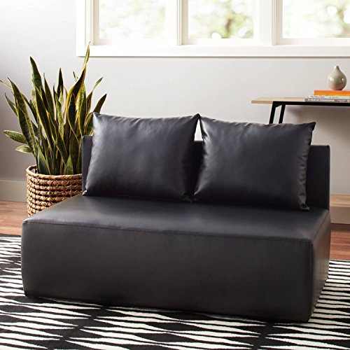 Mainstays Modular Double Lounge Chair, Black Faux Leather