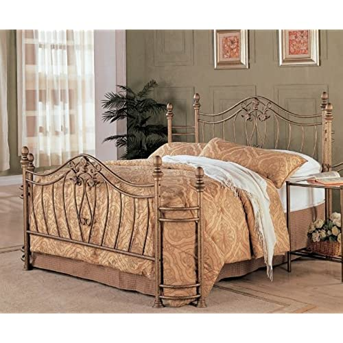 coaster home furnishings sydney modern traditional hand brushed metal bed queen antique brushed gold headboard footboard only - Wrought Iron Bed Frame