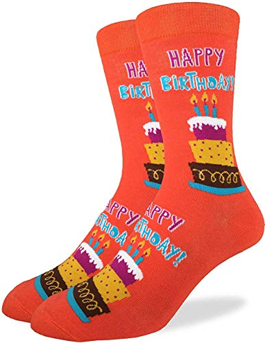 Man Men S Happy Birthday Crew Socks Orange Adult Shoe Size 7 12 Beerthday -