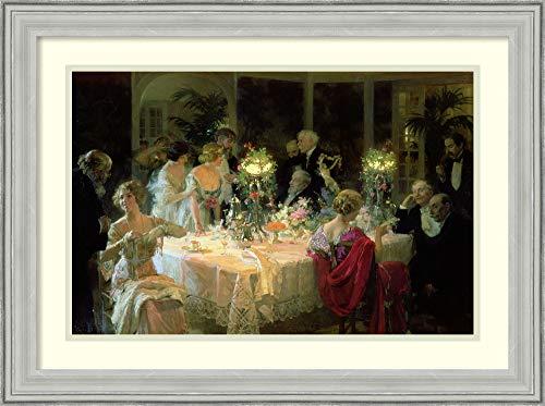 Framed Wall Art Print The End of Dinner 1913 by Jules Alexandre Grun 26.75 x 19.88