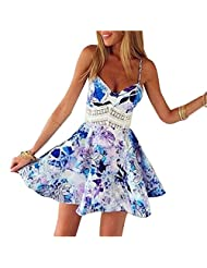Women Summer Wrap Chest Sexy Sleeveless Waist Hollow Out A-Line Mini Dress