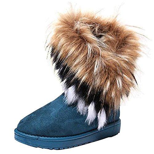ARTCO Women's winter warm high long snow ankle boots faux fox fur tassel shoes three colors Blue US8