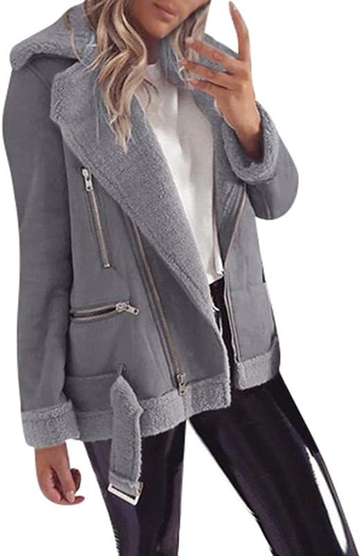 REDMAKER Wide Lapel Zipper Faux Fleece Pure Color Warm Jacket for Women Long Sleeve Pocket Comfortable V Neck Tops