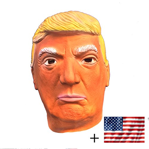 Donald Trump LATEX Mask, The Most Realistic & Best Look-alike, Plus Free USA Flag Bumper Sticker. Full-head Adult Size Orange (Suntanned)