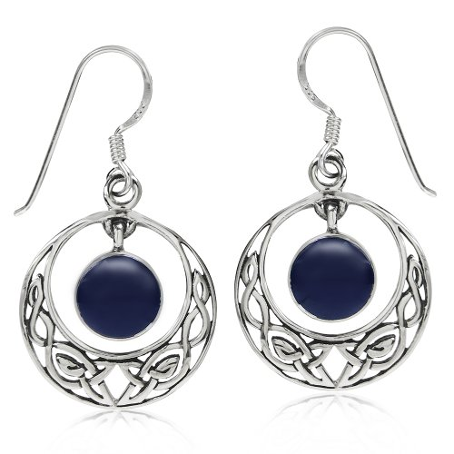 Silvershake Dangle Created Lapis 925 Sterling Silver Celtic Knot Circle Hook Earrings
