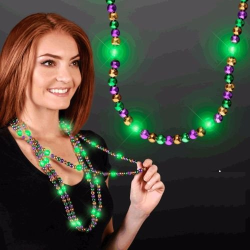blinkee Flashing Mardi Gras Beaded Necklace Flashing Body Light Lapel Pins by ()