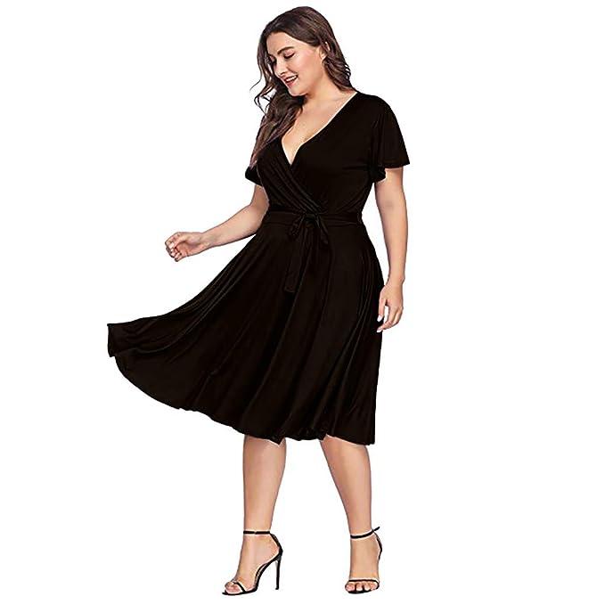Amazon.com: perfectCOCO Plus Size Dress Women Casual Bow Tie ...