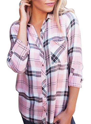 Cute Plaid Shirts (JINTING Ladies Plaid Shirt Long Sleeve Casual Long Button Down Shirt Top Blouse Size XL (Pink))