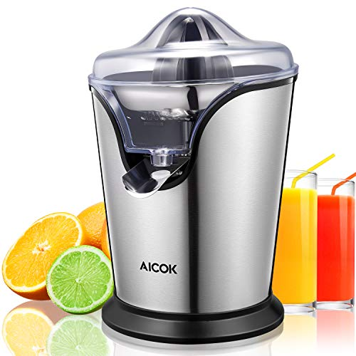 (Aicok Orange Juicer Electric Stainless Steel 100 W Electric Citrus Juicer Squeezer with Two Interchangeable Cones and Anti-drip Spout, Ultra Quiet Motor For Fresh Orange, Grapefruits and)