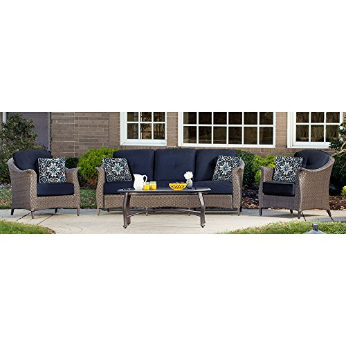Hanover Outdoor Furniture Gramercy 4-Piece Wicker Patio Seating Set, Navy (Hanover Patio)