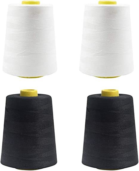 8000 Yards Each Quilting Serger Machines Overlock Merrow /& Hand Embroidery of High Tensile Polyester Thread Spools for Sewing 4-Pack Black All Purpose Sewing Thread Cones