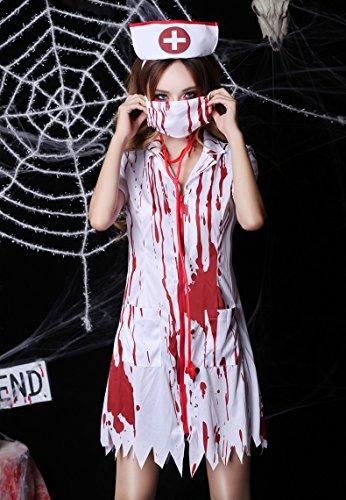 スプラッターナース 血のり付き白衣 血染めの看護婦 レディース 女性 変装 コスプレ 仮装 ナース服 ゾンビ 看護婦 ハロウィン コスチューム 衣装
