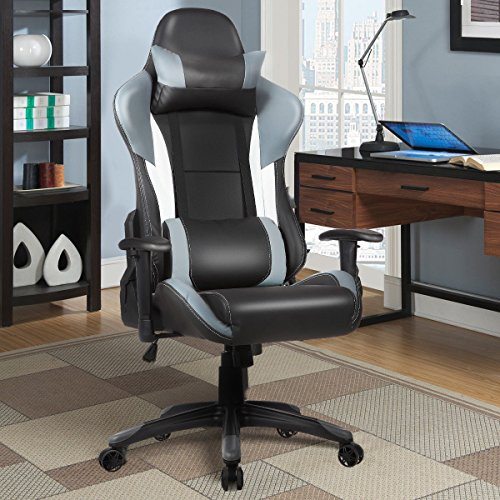 51eXdGJFH5L - Giantex-Gaming-Chair-Racing-Chair-Ergonomic-Office-Chair-w-High-Back-Lumbar-Support-and-Pillow-Executive-Computer-Task-Desk-Gaming-Chair-Grey