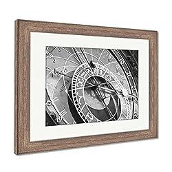 Ashley Framed Prints Prague Astronomical Clock, Wall Art Home Decoration, Black/White, 30x35 (frame size), Rustic Barn Wood Frame, AG5574778