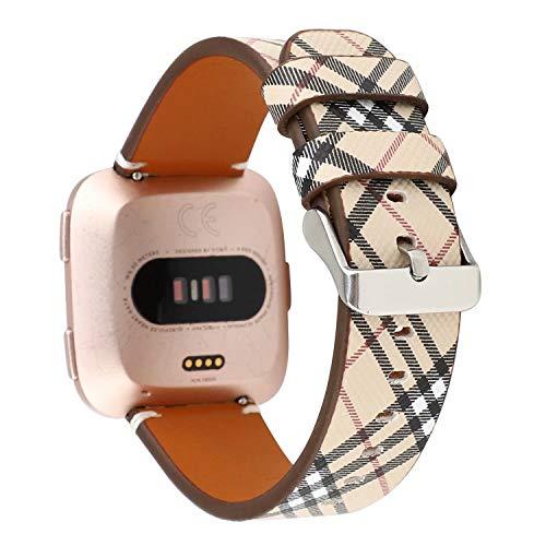 Bands for Fitbit Versa & Versa Lite, Jimbird PU Leather Replacement Bracele Wrist Watch Band for Fitbit Versa Fitness Smart Watch (Khaki)