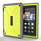 """Fire HD 7 (2014 Model) Case - Poetic Fire HD 7 Case [Revolution Series] - [Heavy Duty] [Dual Layer] [Screen Shield] Protective Hybrid Case with Built-In Screen Protector for Amazon Fire HD 7 (2014 Model) 4th Gen Only - Citron , Will Not Fit Fire 7"""" Display 5th Generation (2015 release) (3 Year Manufacturer Warranty From Poetic)"""
