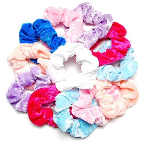 Luxxii (12 Pack) 4 Shiny Colorful Soft Pastel Velvet Scrunchies Ponytail Holder Elastic Hair Bands (Assort Pastel Velvet)