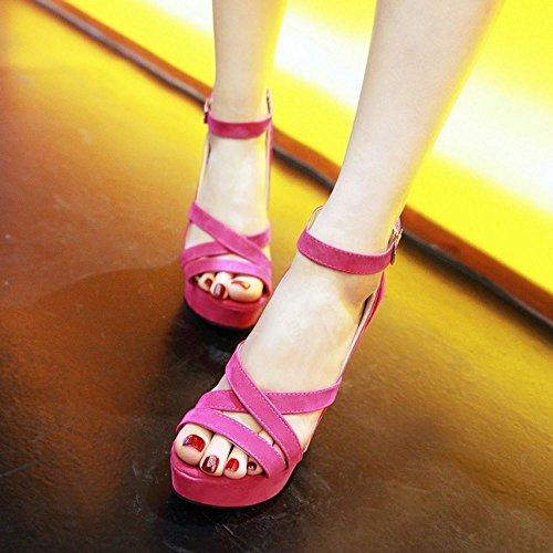 RAZAMAZA Mujer Mode Punta Abierta Plataforma tacon Alto Sandalias Rojo