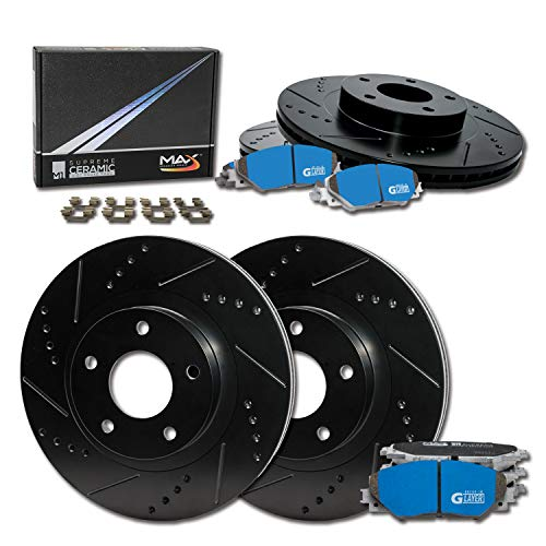 Max Brakes Front & Rear Supreme Brake Kit [ E-Coated Slotted Drilled Rotors + Ceramic Pads ] KM015883 | Fits: 2006 06 2007 07 Chevy Monte Carlo; Incl. SS Models