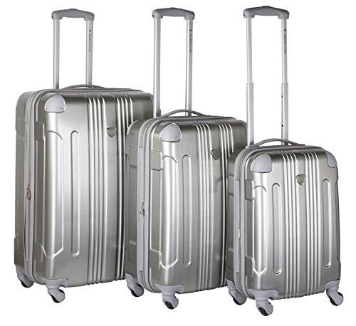 (Travelers Club 3 Piece Polaris Metal Accent Hardside Expandable Luggage Set)